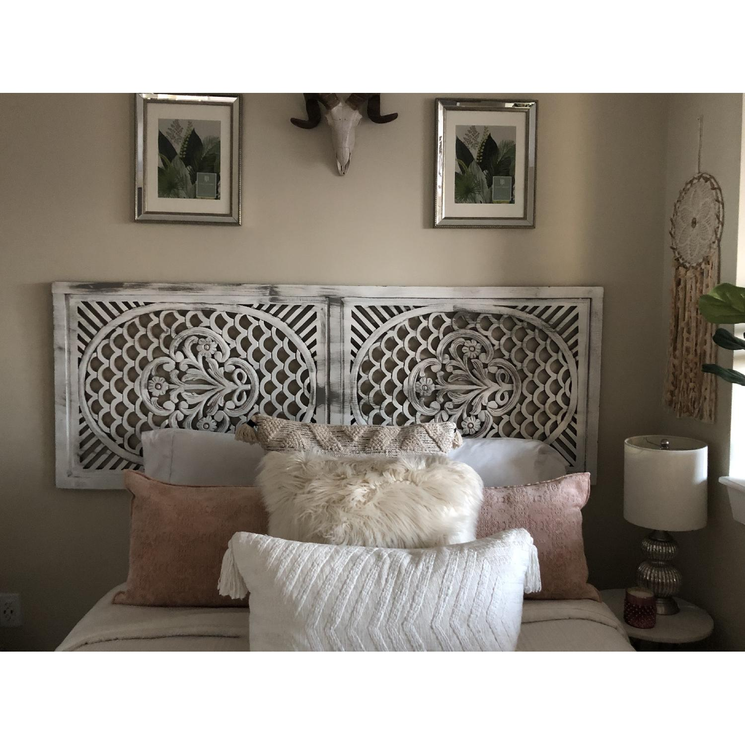 Pier 1 Distressed Wooden Screen/Headboard-2