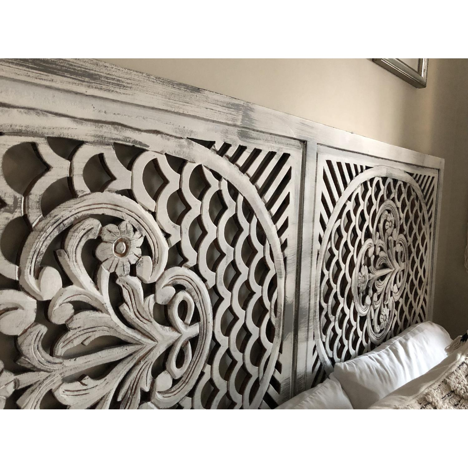 Pier 1 Distressed Wooden Screen/Headboard-4