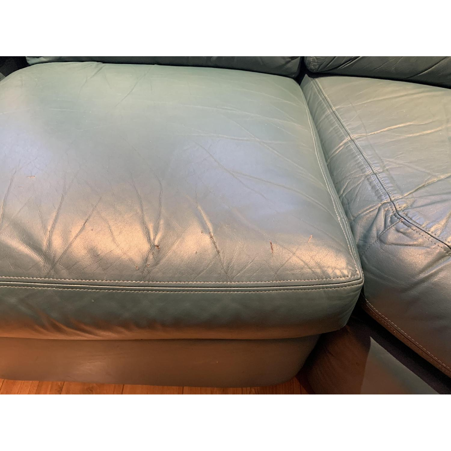 Green Leather 3-Piece Sectional Sofa-2