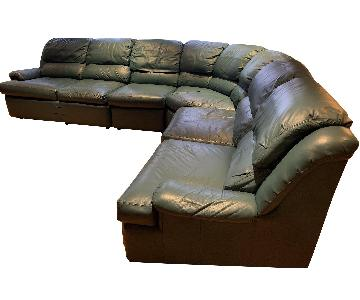 Green Leather 3-Piece Sectional Sofa