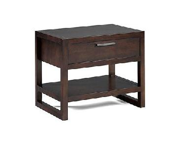 Macy's Modern Espresso Wood 1 Drawer Nightstand