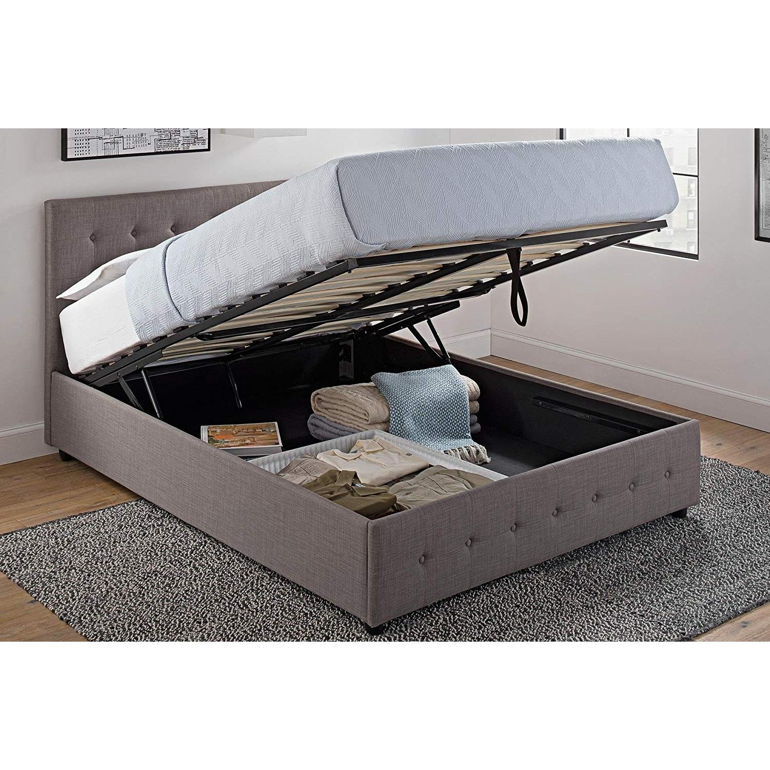 DHP Furniture Platform Bed w/ Gas Lift Storage-0