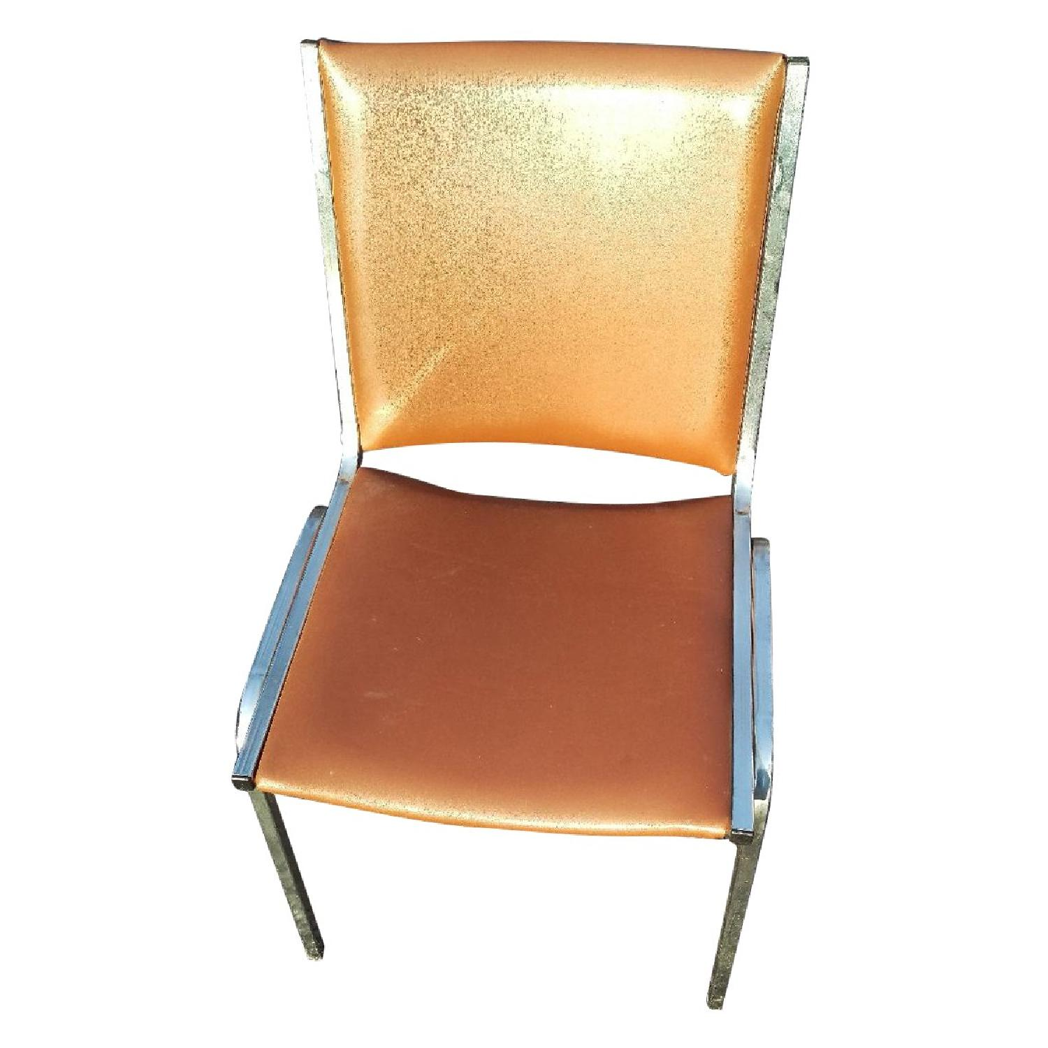Vintage Tan Leather & Chrome Office Chair