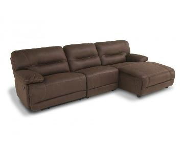 Bob's Suede 3 Piece Reclining Sectional Sofa