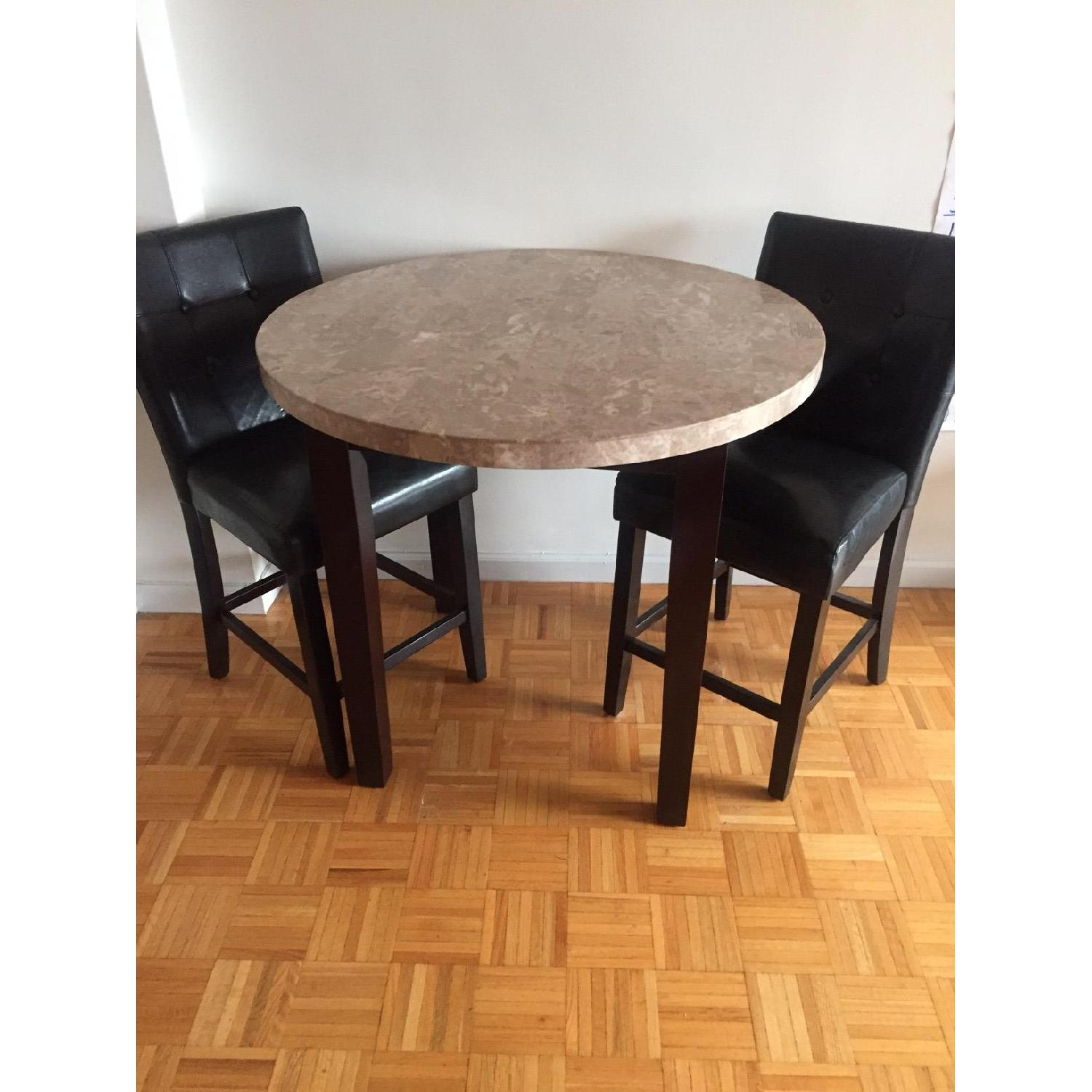 Harlem Furniture Inc Marble Table w/ 2 Black Leather Chairs-0
