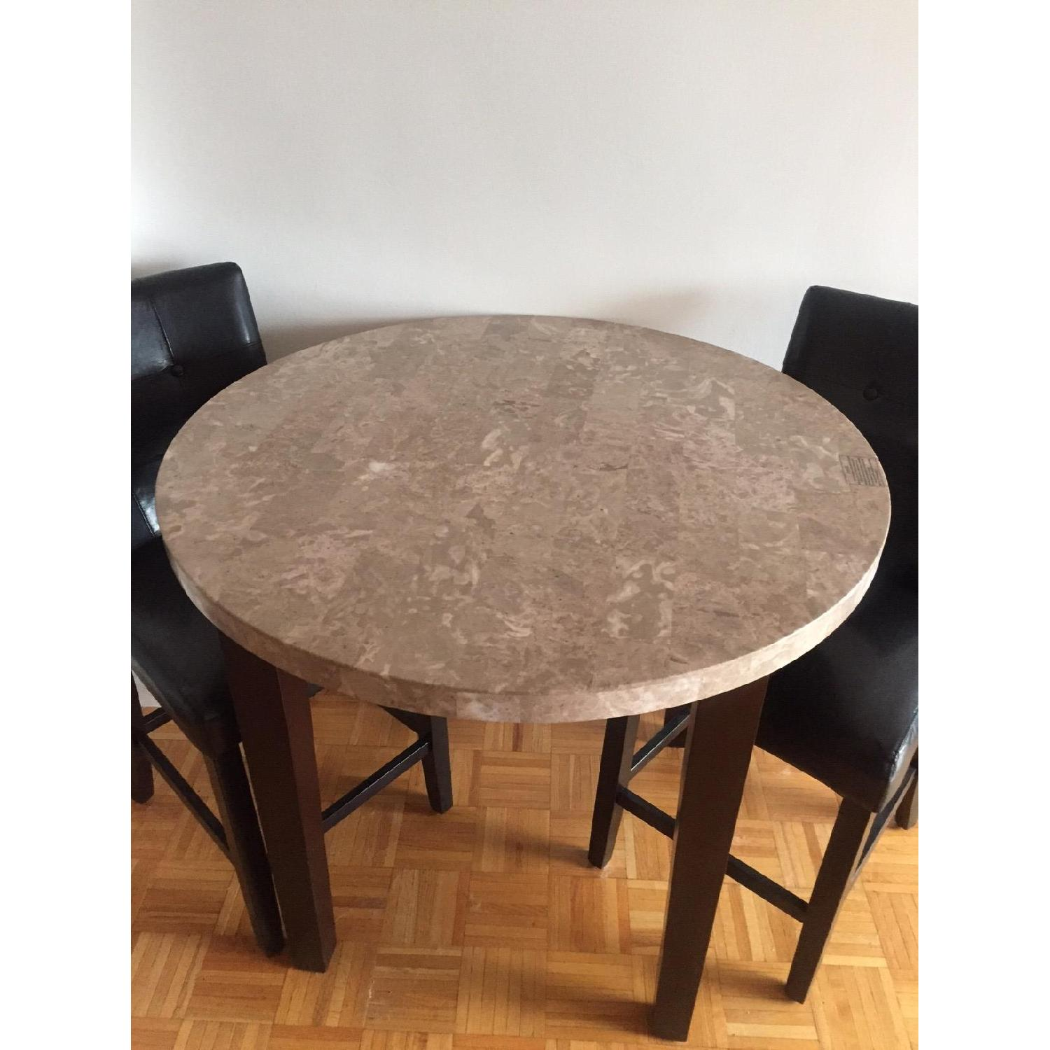 Harlem Furniture Inc Marble Table w/ 2 Black Leather Chairs-2
