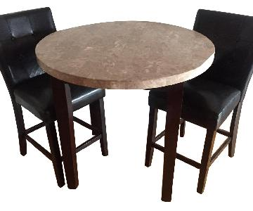 Harlem Furniture Inc Marble Table w/ 2 Black Leather Chairs