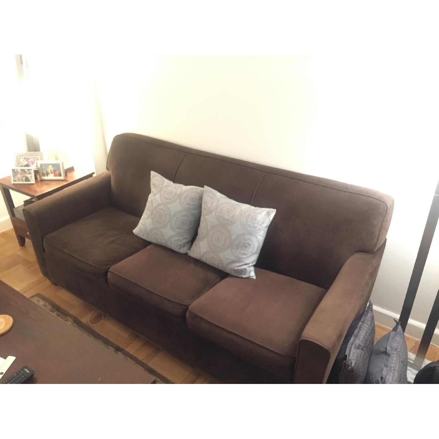 Brown Suede Full Size Sleeper Sofa Aptdeco