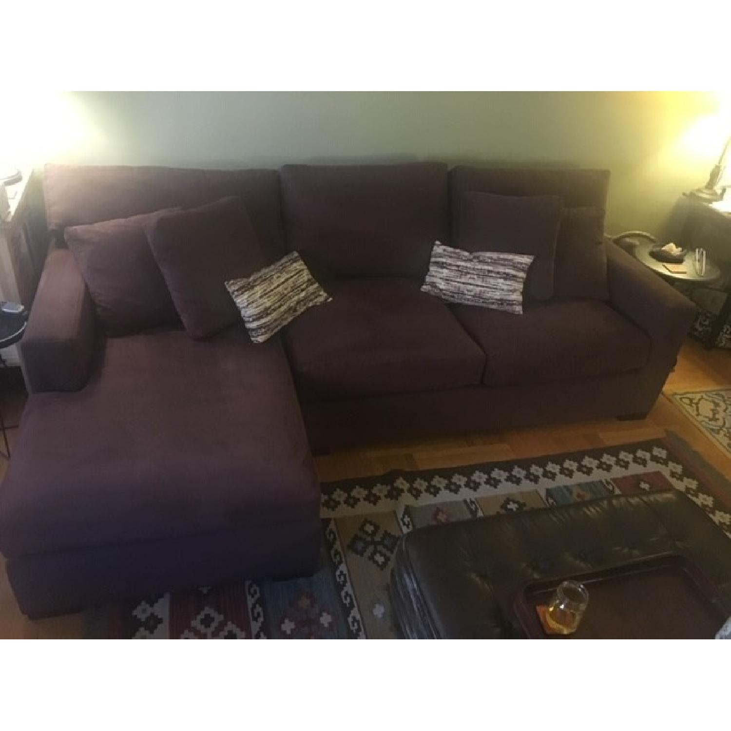 Crate & Barrel Left Arm Chaise Sectional Sofa in Eggplant-2