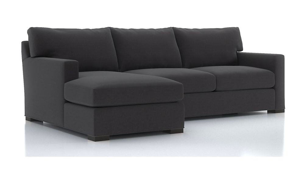 Crate & Barrel Left Arm Chaise Sectional Sofa in Eggplant