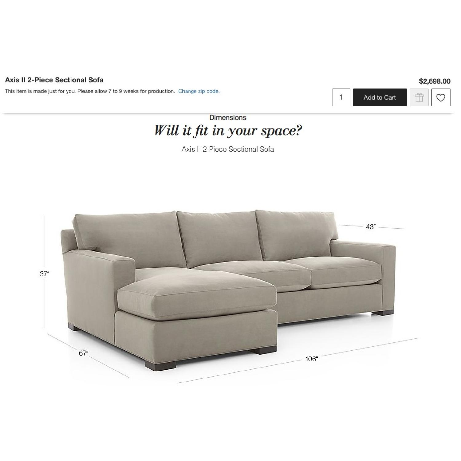 Crate & Barrel Left Arm Chaise Sectional Sofa in Eggplant-3