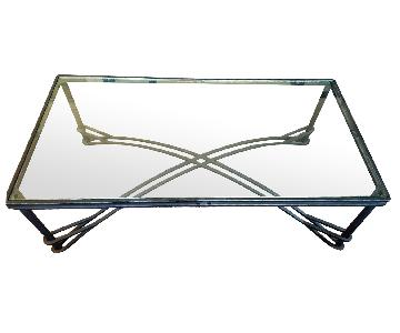 Maurice Villency Iron & Glass Cocktail Table