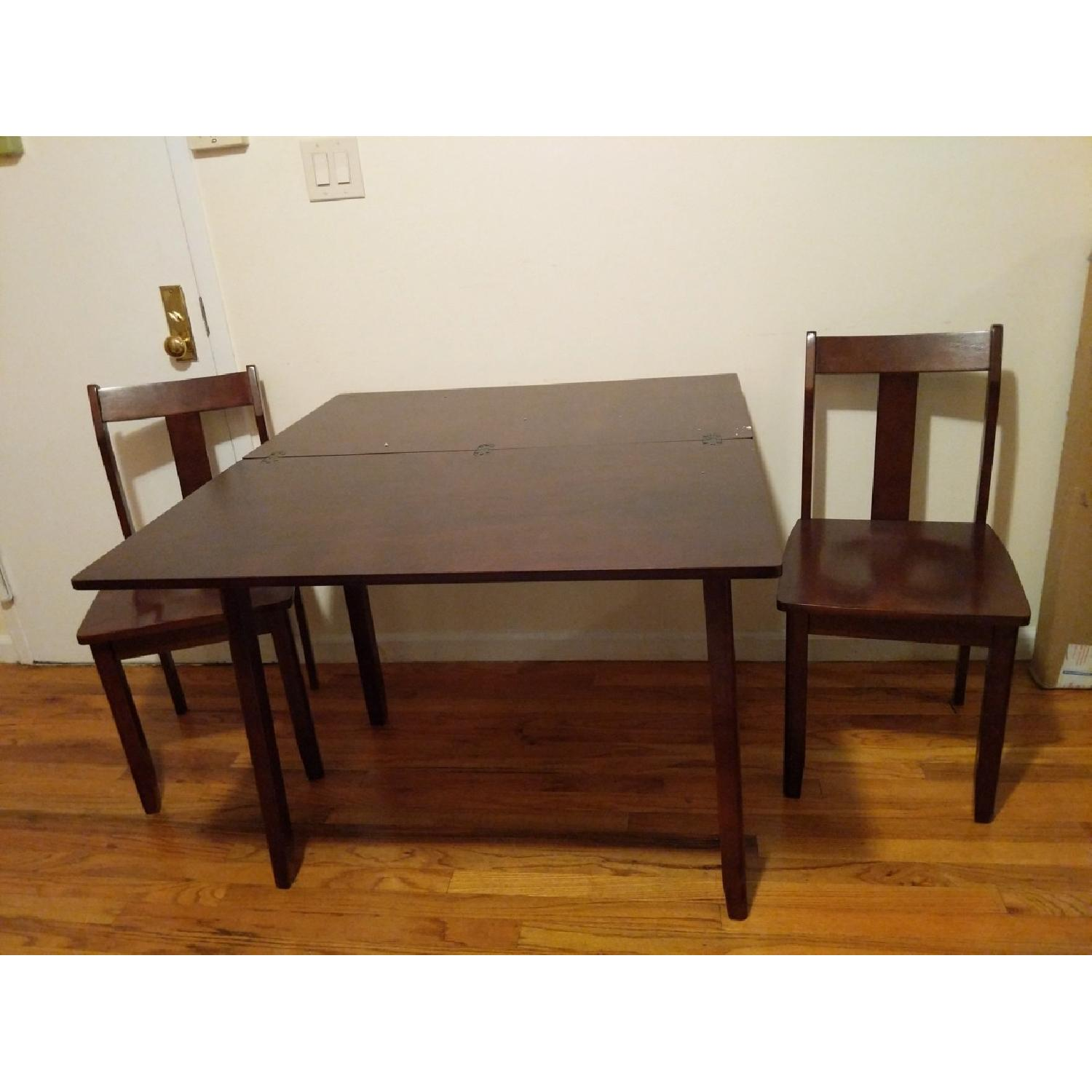 Expandable Brown Dining Table w/ 2 Chairs-0