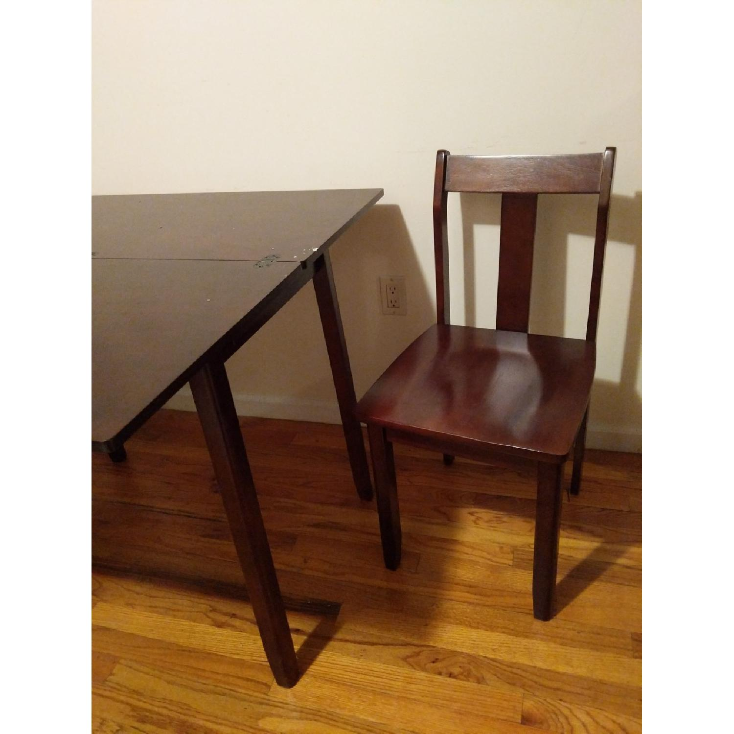 Expandable Brown Dining Table w/ 2 Chairs-1