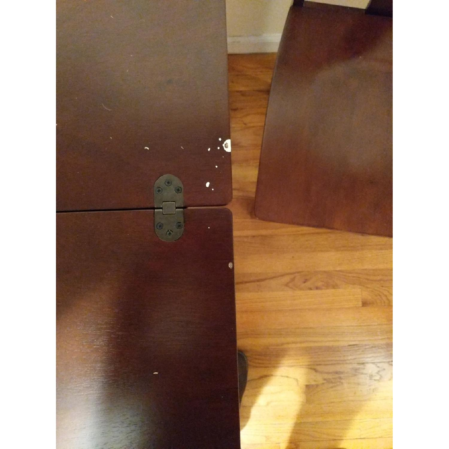 Expandable Brown Dining Table w/ 2 Chairs-2