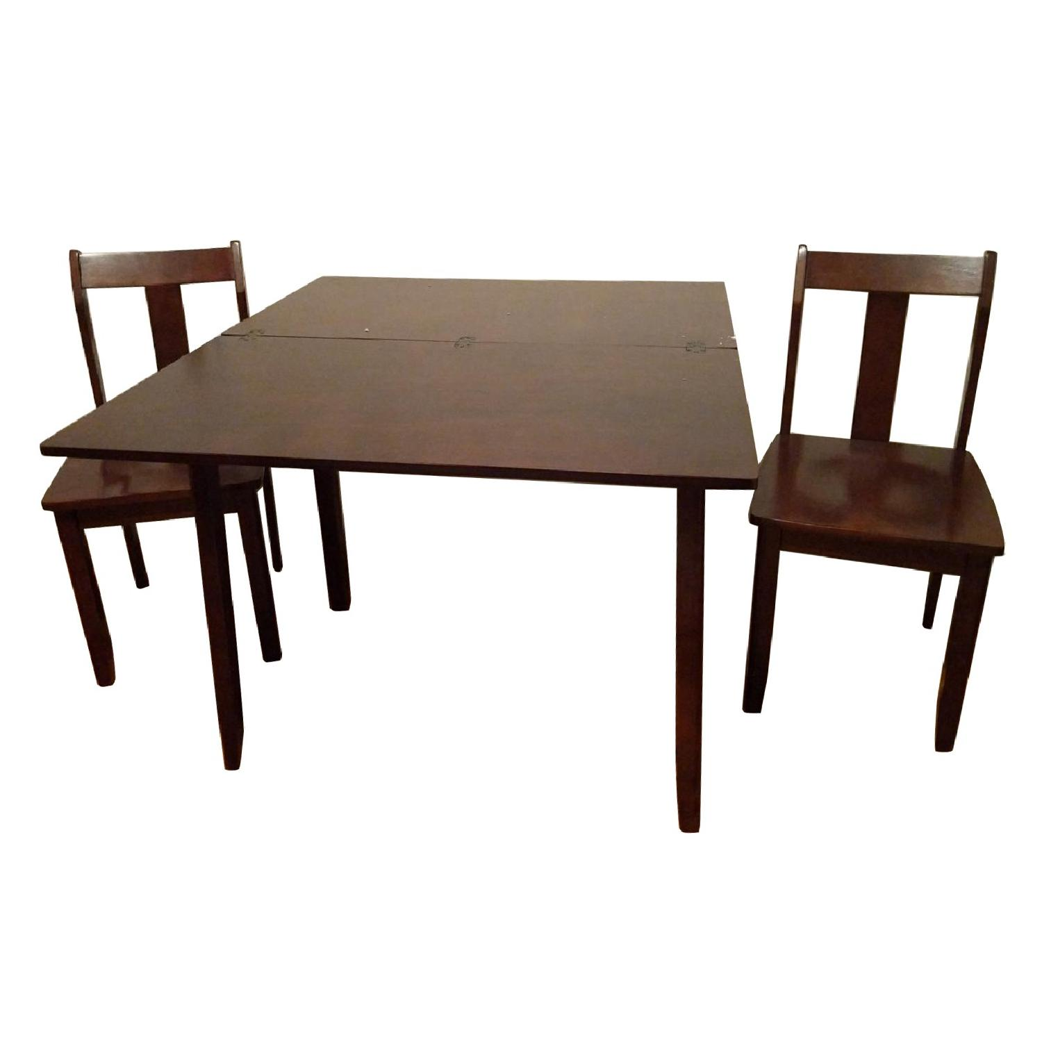 Expandable Brown Dining Table w/ 2 Chairs