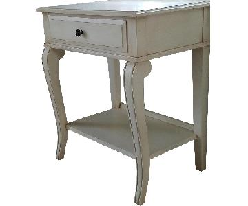 Ethan Allen Distressed White Night Tables