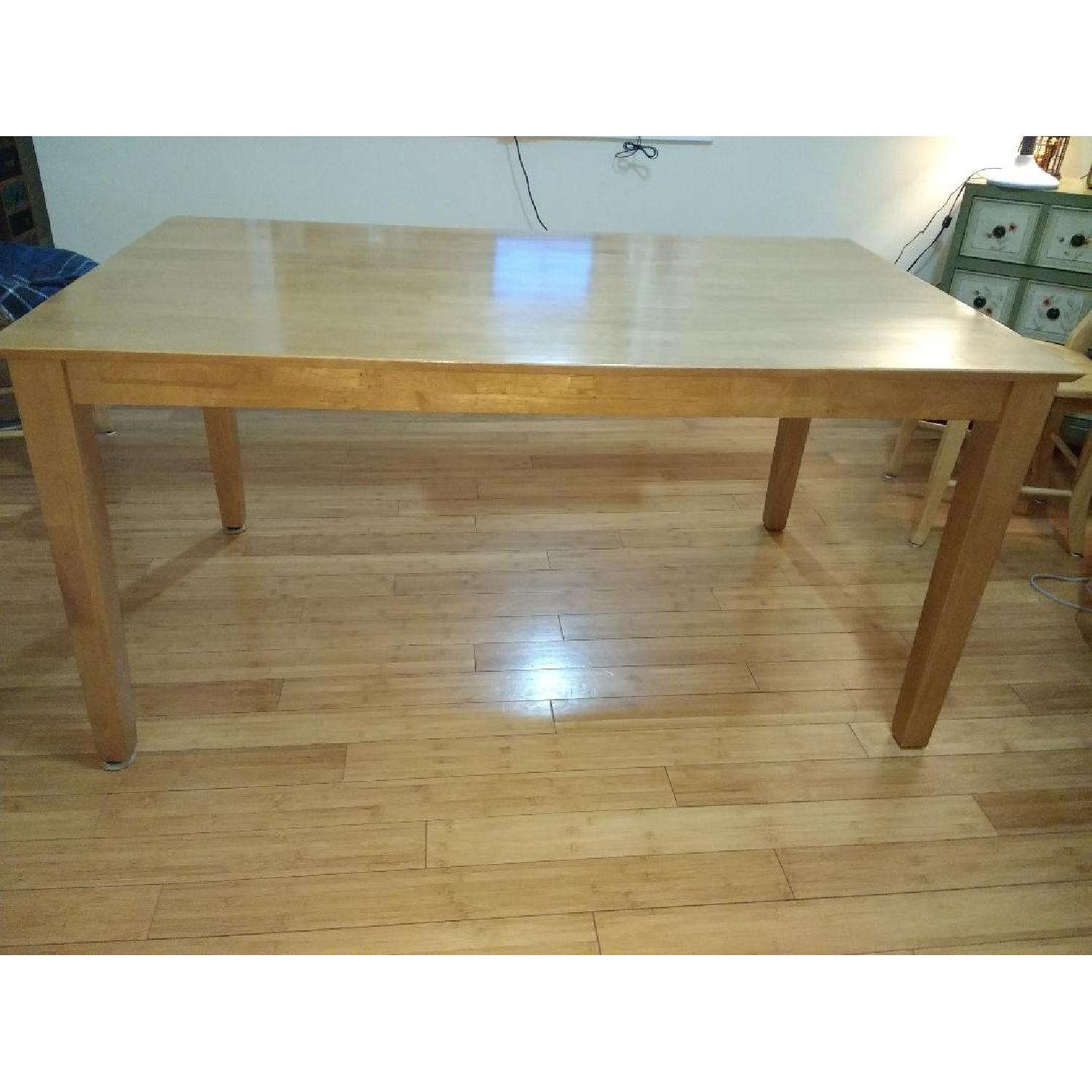 Wood Dining Table in Honey Oak Finish
