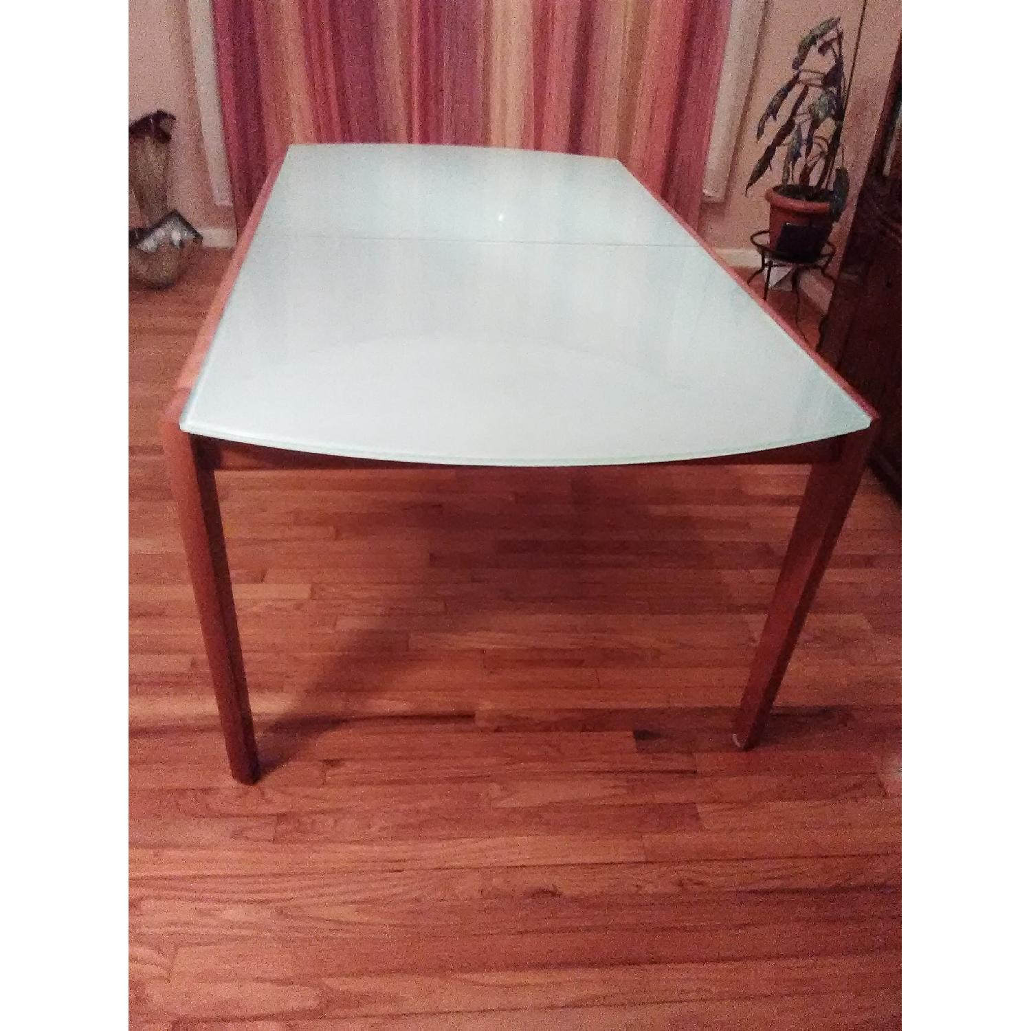 Lima Italian Greenish Glass & Wood Dining Table