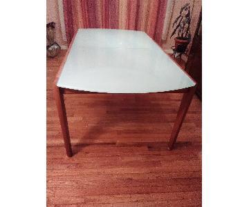 Lima Italian Greenish Glass & Wood Dining Table
