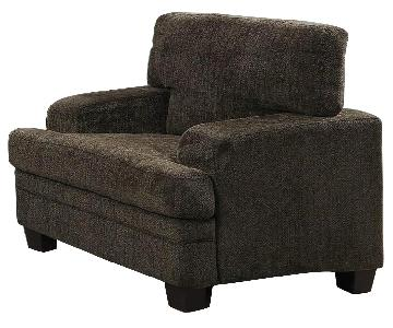 Brown Chenille Accent Chair