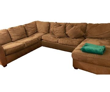Beige Suede 3-Piece Sectional Sofa