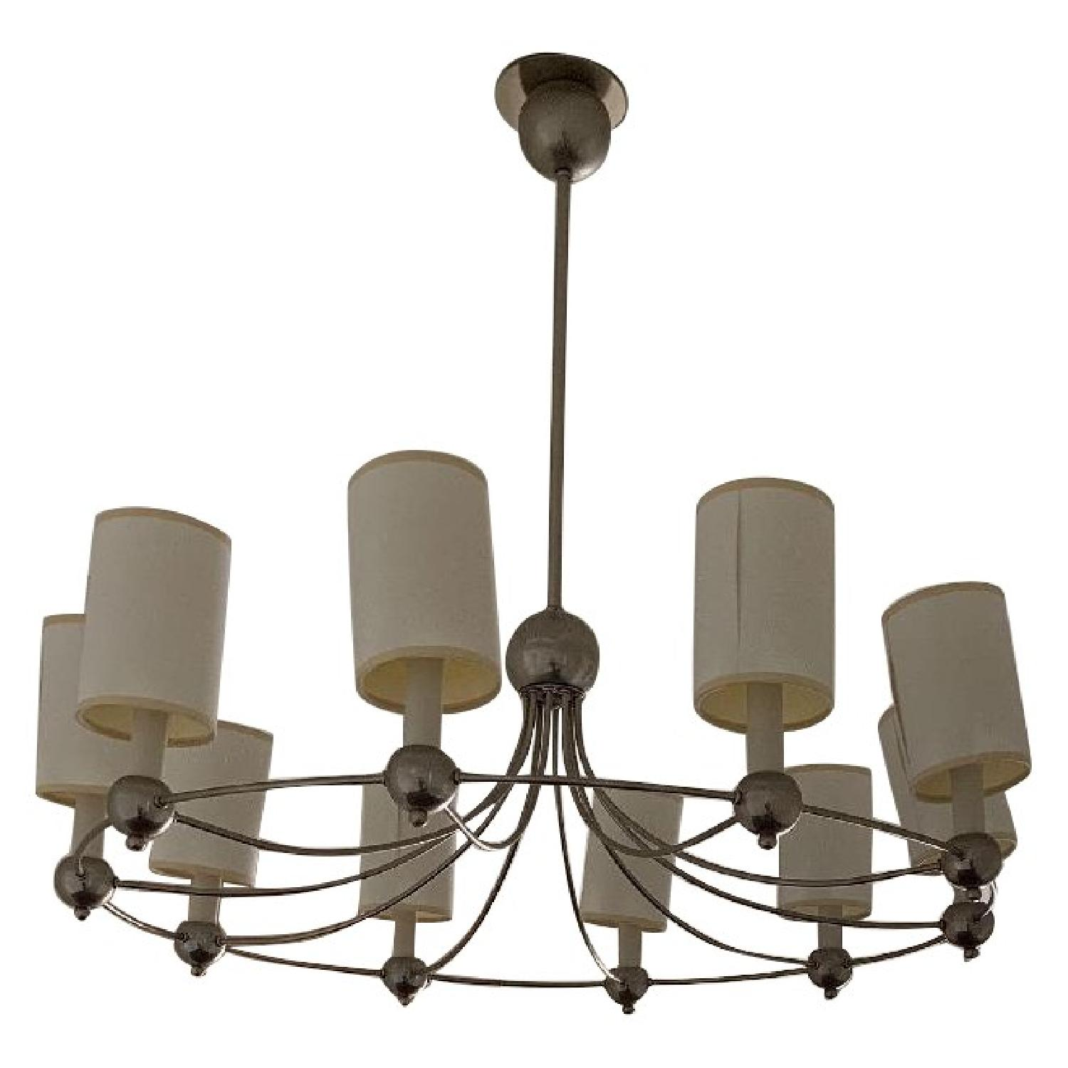 Remains Antique Mid-Century Modern 10 Light Round Chandelier