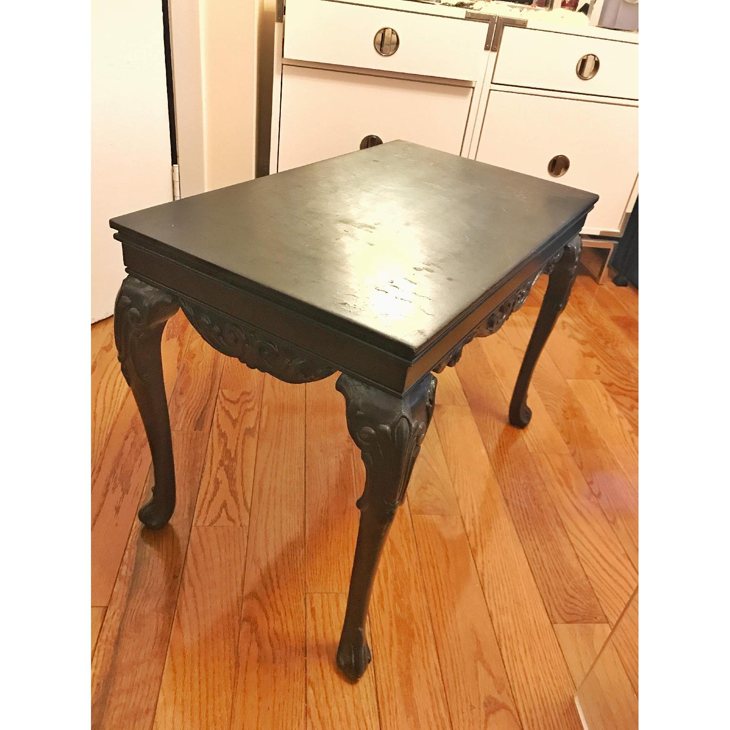 Anthropologie Black Wood Deco Carved Side Table-0