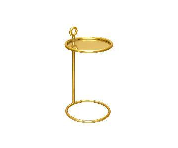 CB2 Round Brass C Table