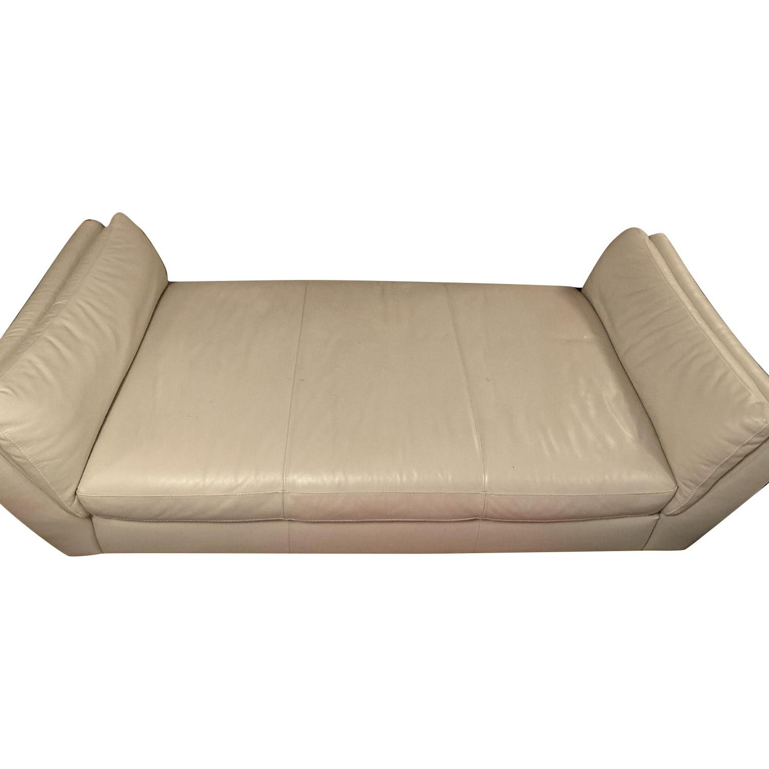 Italsofa Cream Leather Daybed/Chaise Lounge
