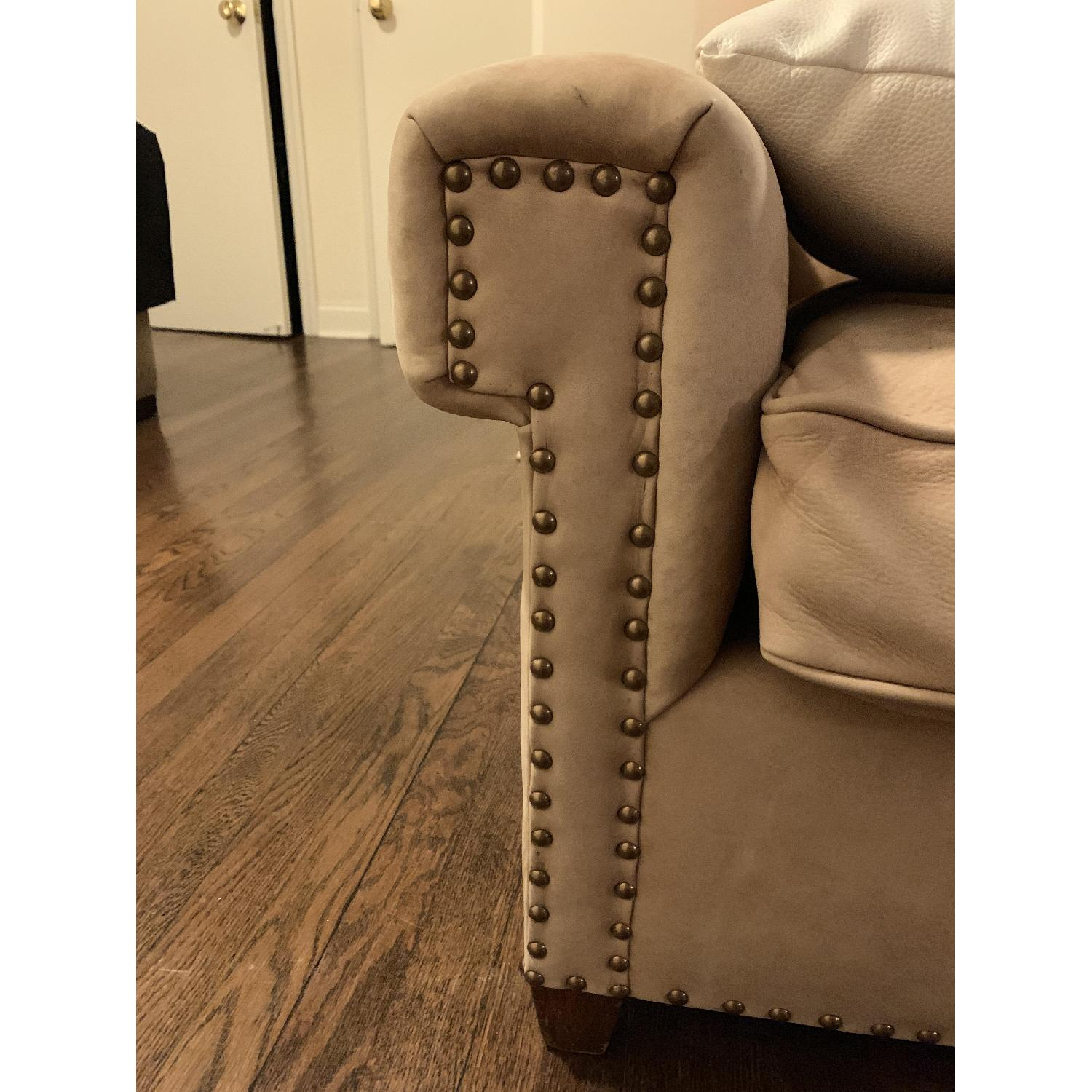 Beige Fabric Studded Armchairs-2
