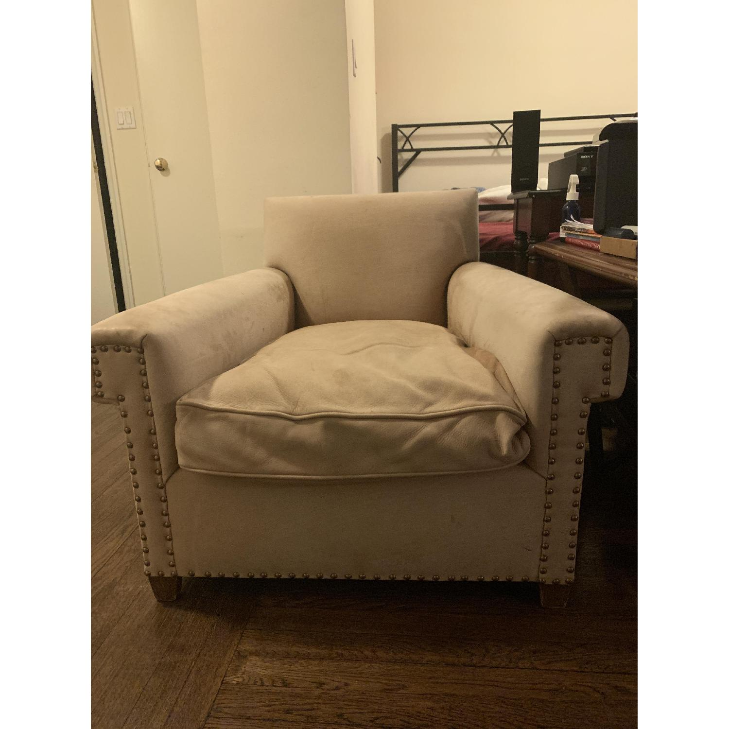 Beige Fabric Studded Armchairs-3