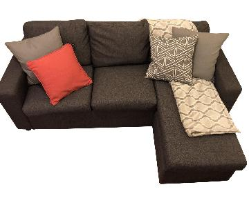 3 Piece Reversible Chaise Sectional Sofa in Grey Fabric