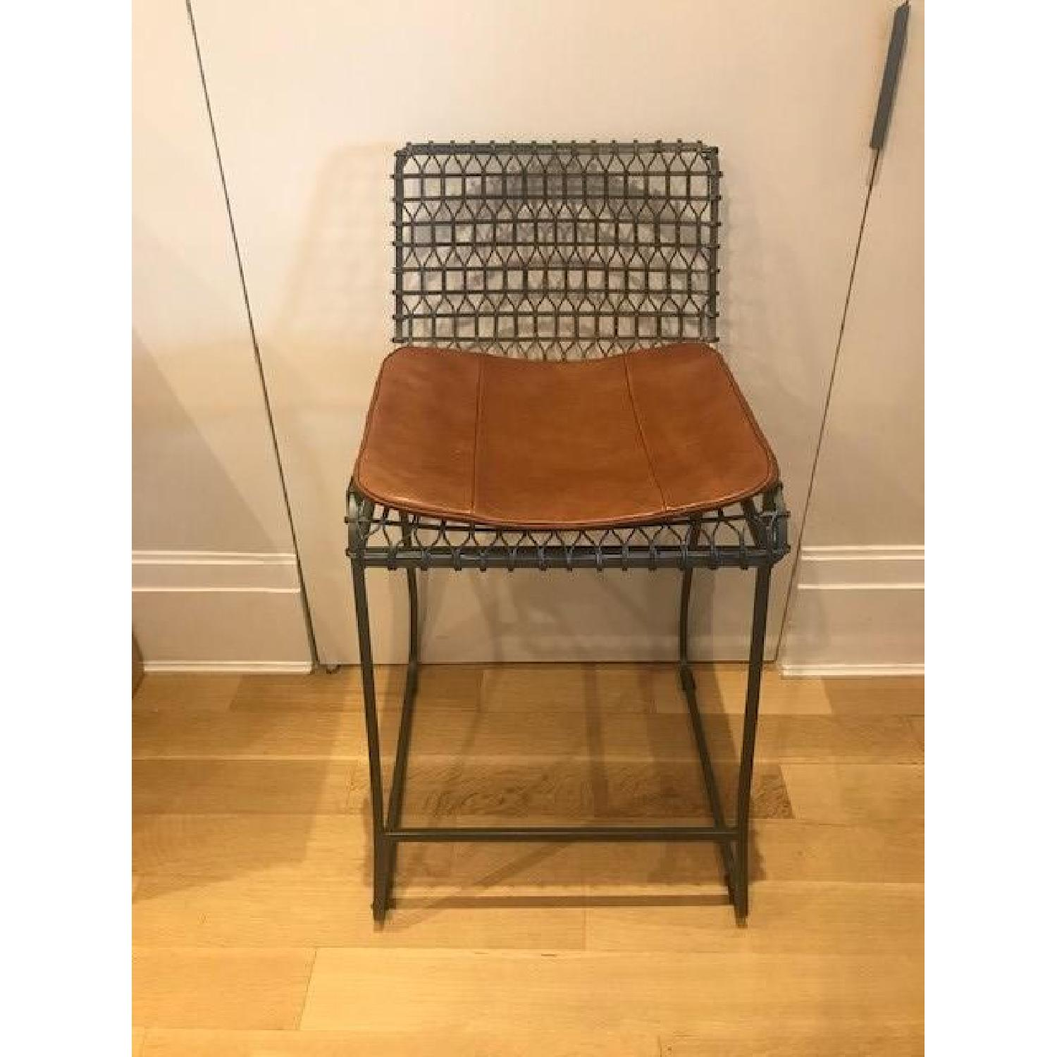 Crate & Barrel Tig Counter Stools w/ Brown Leather Seats-0