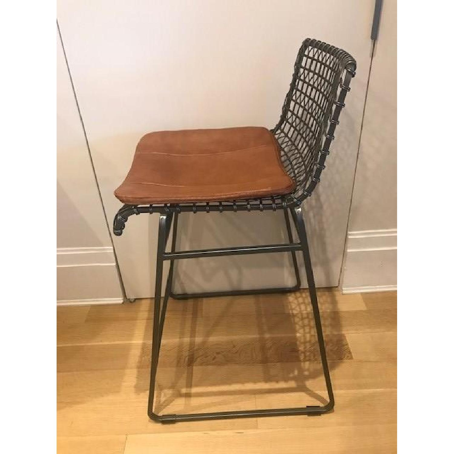 Crate & Barrel Tig Counter Stools w/ Brown Leather Seats-2