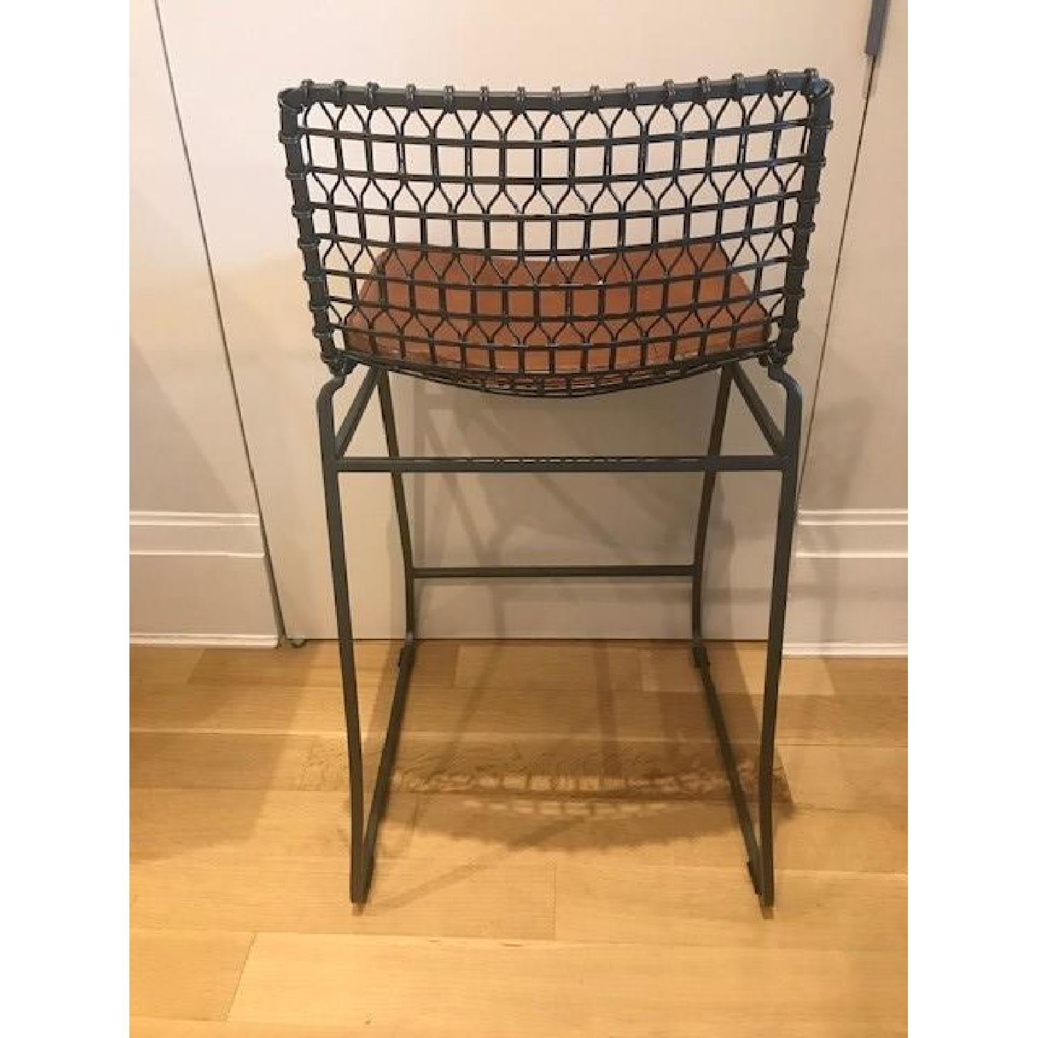 Crate & Barrel Tig Counter Stools w/ Brown Leather Seats-4