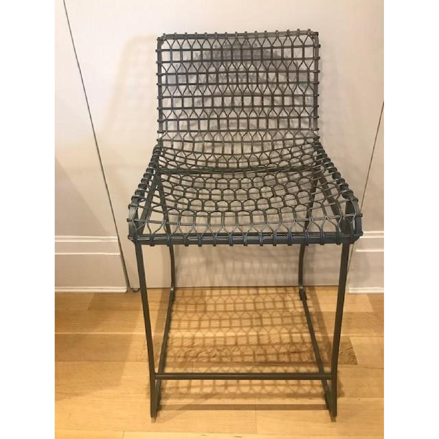 Crate & Barrel Tig Counter Stools w/ Brown Leather Seats-5