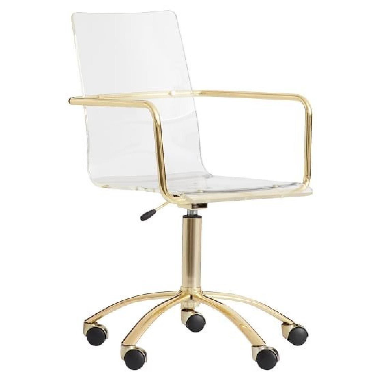 Pottery Barn Gold Paige Acrylic Swivel Chair