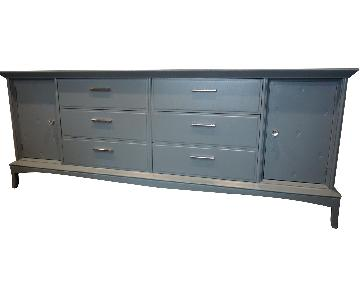 Solid Wood Gray Blue 12 Drawer Dresser