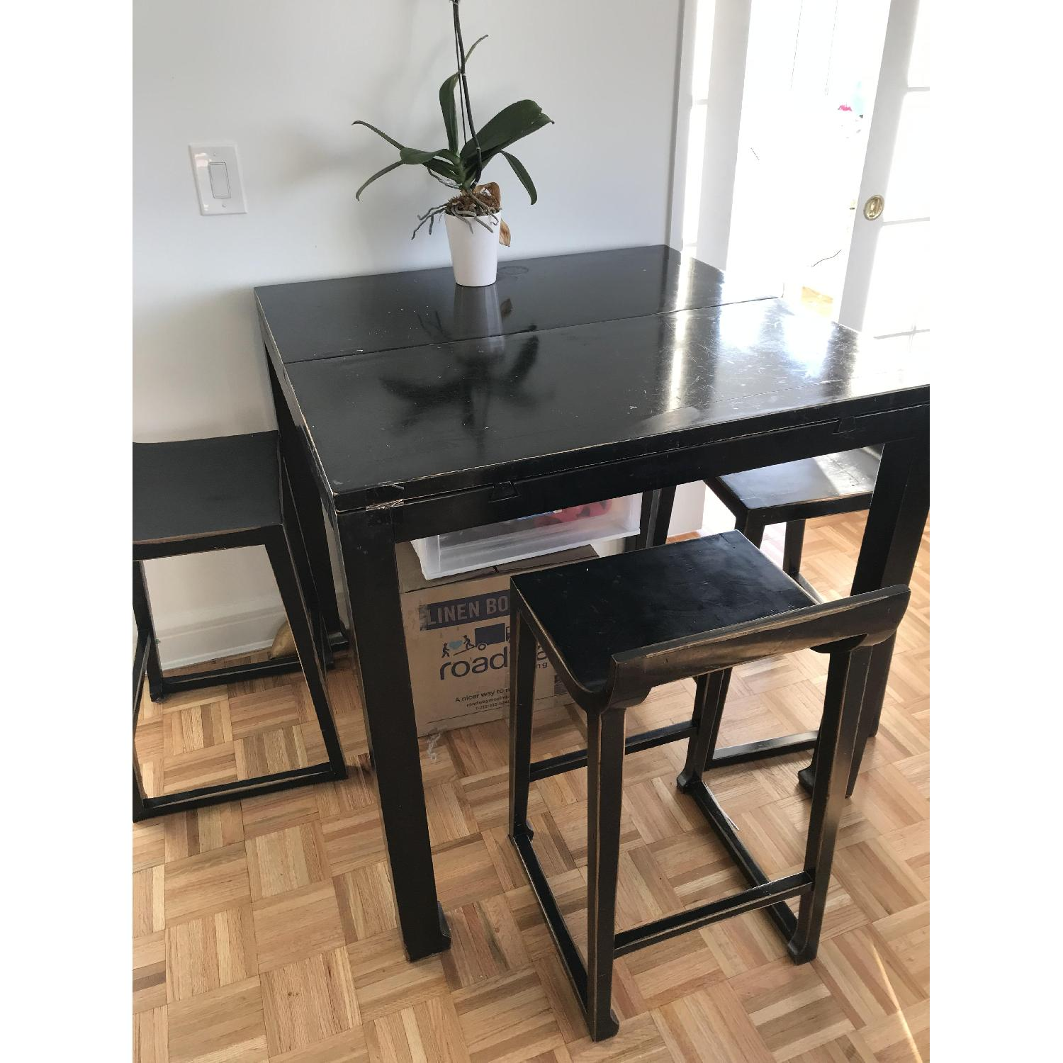 Selfridges Foldable Lacquered Black Table w/ 4 Chairs-0