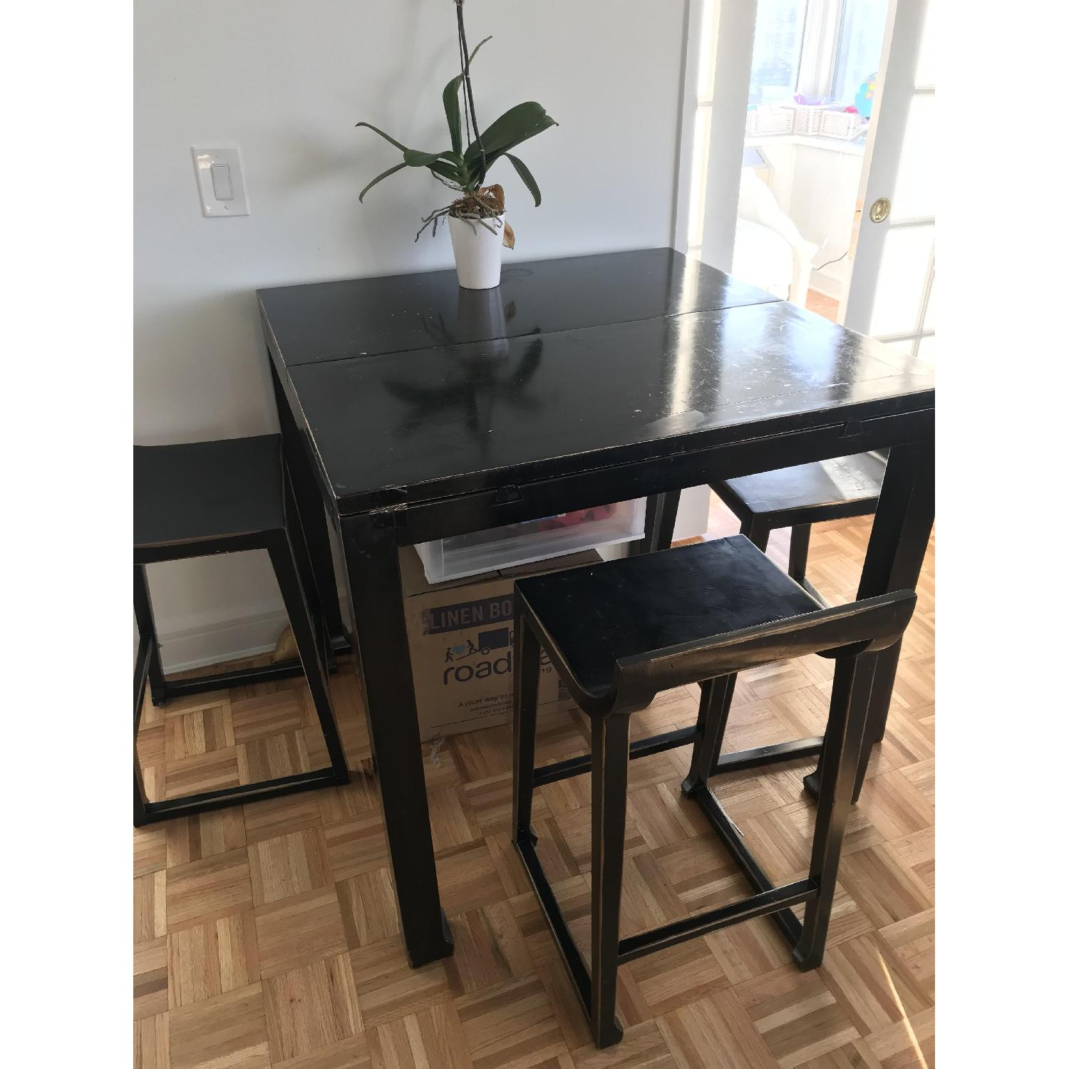 Selfridges Foldable Lacquered Black Table w/ 4 Chairs-1