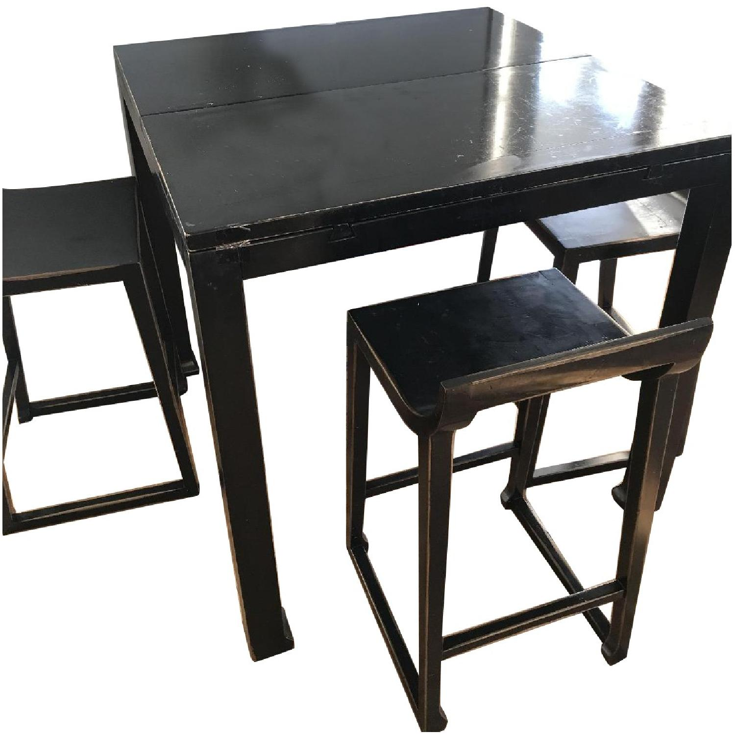 Selfridges Foldable Lacquered Black Table w/ 4 Chairs