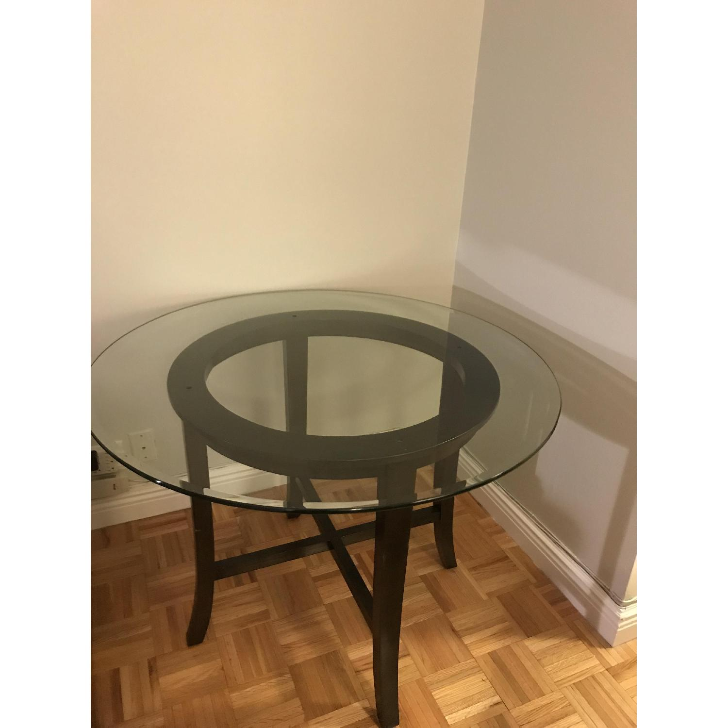 Crate & Barrel Halo Ebony Glass Top Dining Table-1