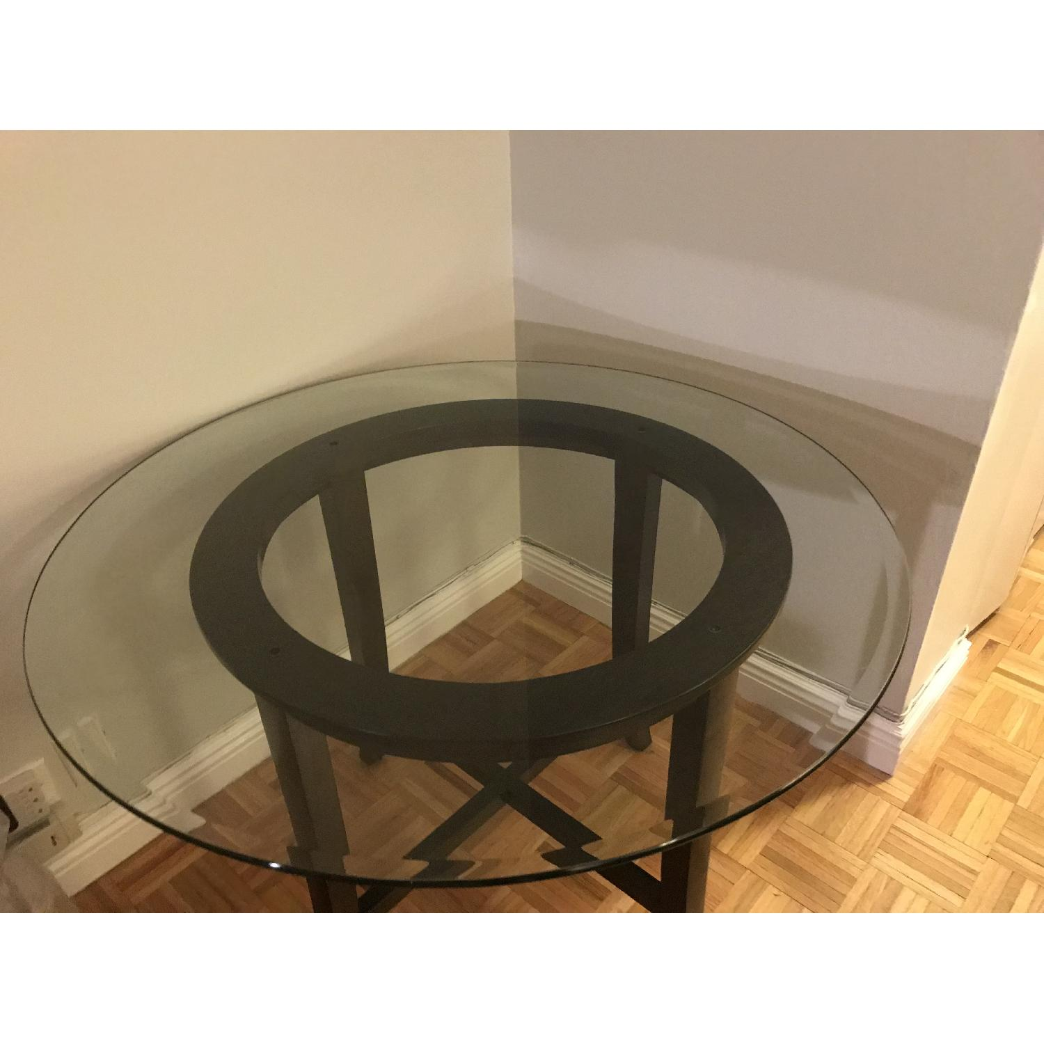 Crate & Barrel Halo Ebony Glass Top Dining Table-3