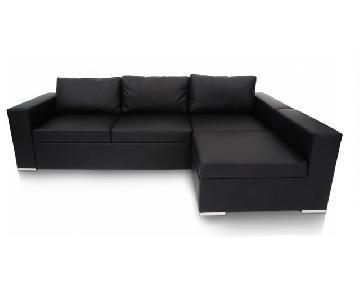 Modani Modern Black Faux Leather Sleeper Sectional Sofa