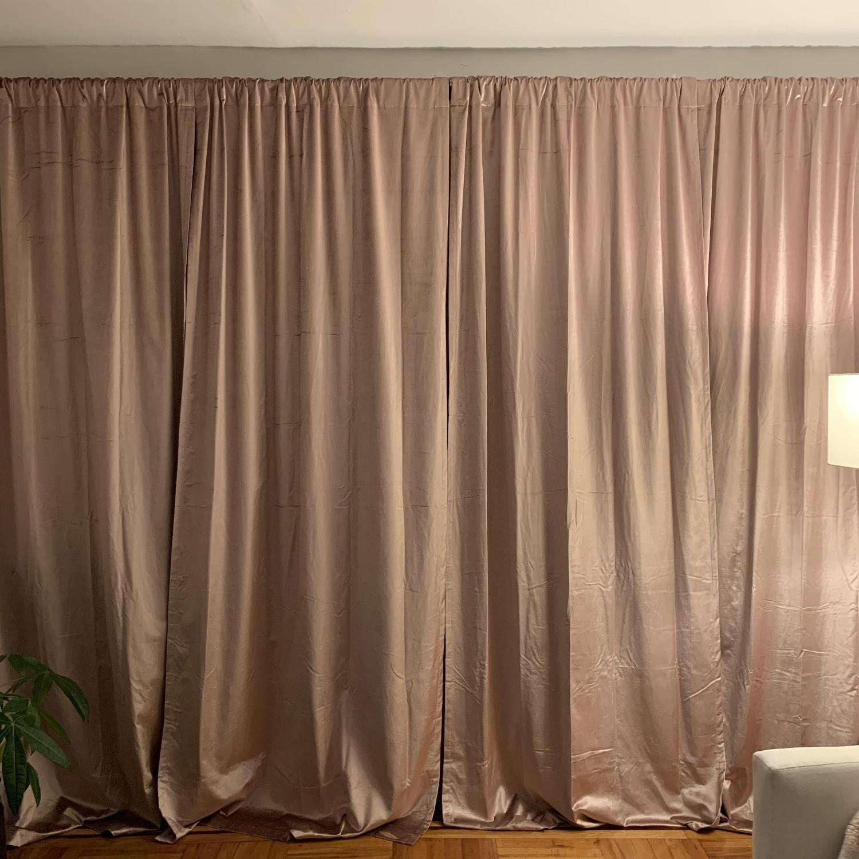 West Elm Cotton Luster Velvet Curtains in Dusty Blush-0