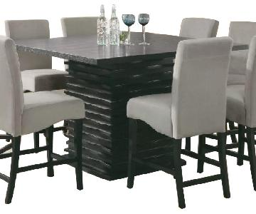 Orren Ellis Counter Height Dining Table w/ 4 Leather Chairs