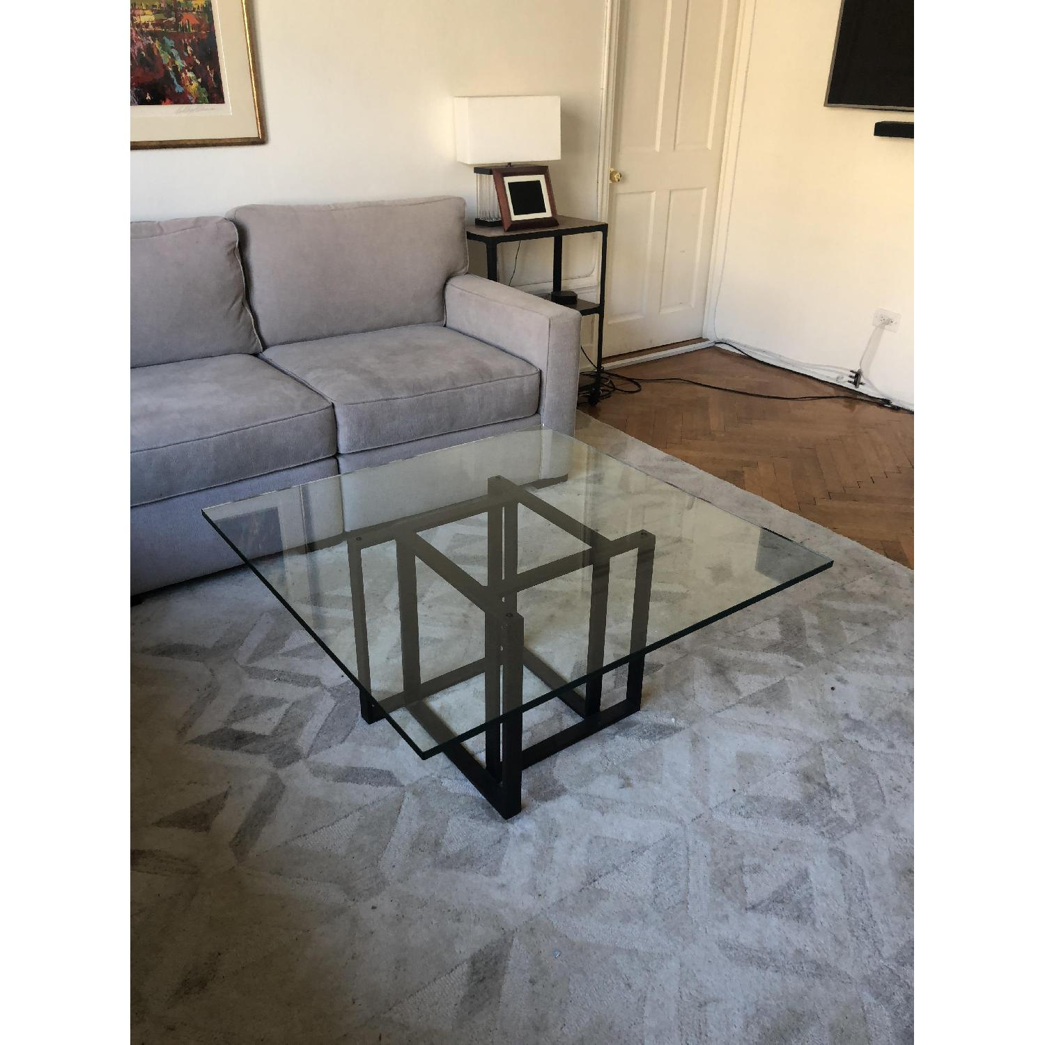 Crate & Barrel Glass Coffee Table-0