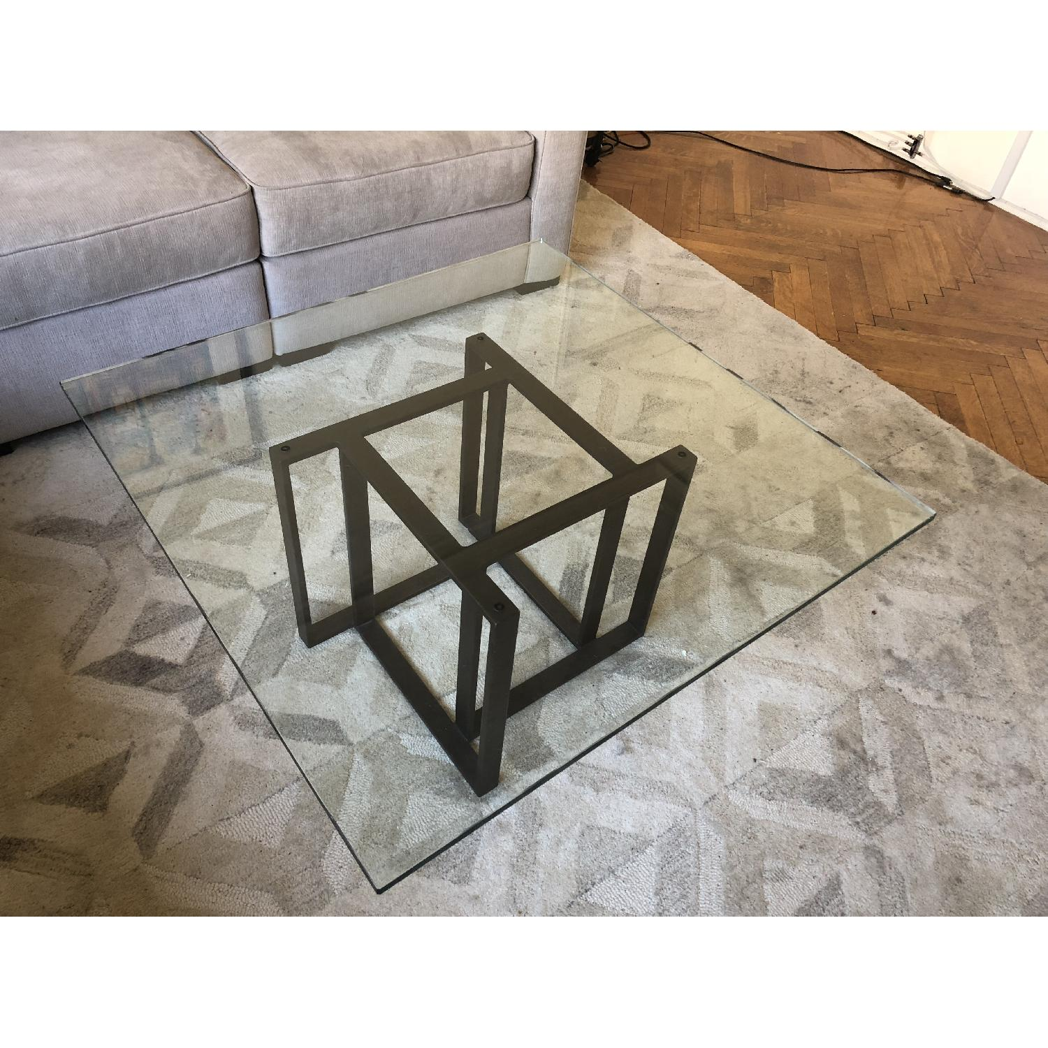 Crate & Barrel Glass Coffee Table-3