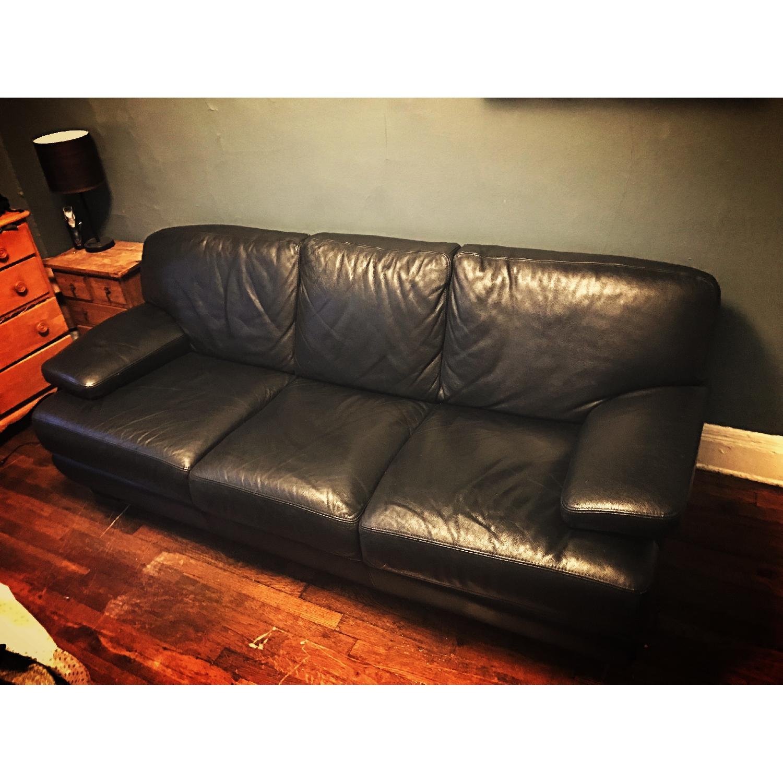 Bloomingdale's Italian Black Leather 3-Cushion Sofa-0
